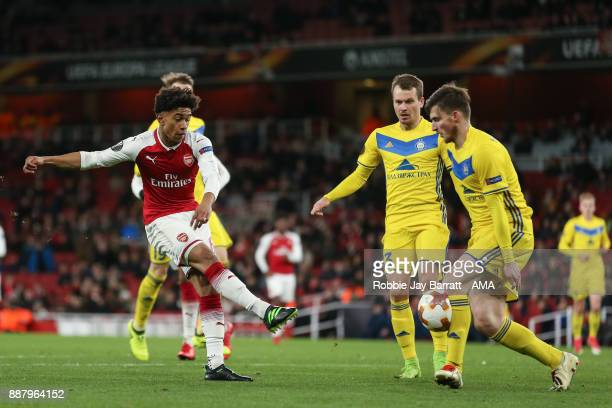Reiss Nelson of Arsenal during the UEFA Europa League group H match between Arsenal FC and BATE Borisov at Emirates Stadium on December 7 2017 in...