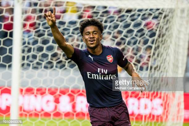 Reiss Nelson of Arsenal FC celebrates scoring the 10 goal during the Preseason friendly between Arsenal and SS Lazio at Friends Arena on August 4...