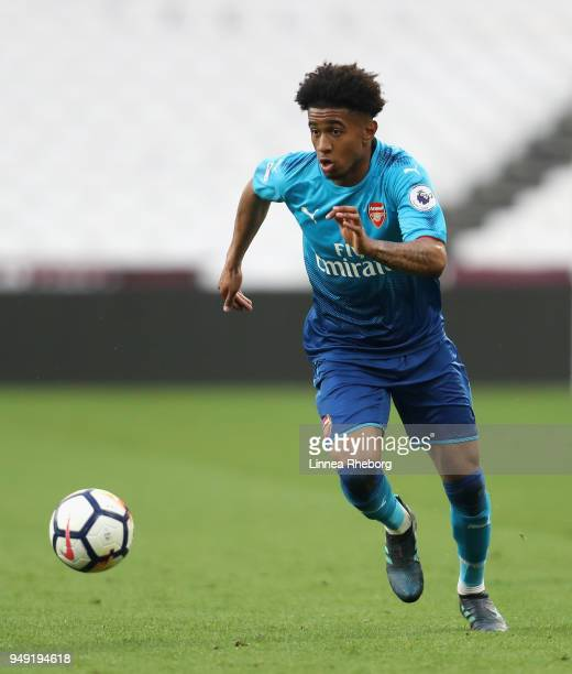 Reiss Nelson of Arsenal in action during the Premier League 2 match between West Ham United and Arsenal at London Stadium on April 20 2018 in London...