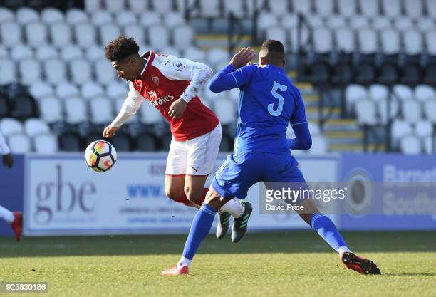 Reiss Nelson of Arsenal is tripped by Dos Santos Gabriel Magalhaes of Dinamo during the match between Arsenal and Dinamo Zagreb at Meadow Park on...