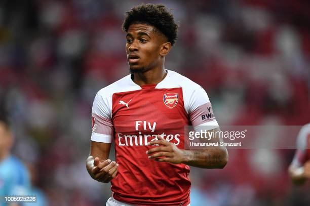 Reiss Nelson of Arsenal looks on during the International Champions Cup 2018 match between Club Atletico de Madrid and Arsenal at the National...