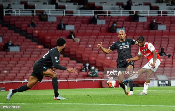 Reiss Nelson of Arsenal scores his sides second goal during the Premier League match between Arsenal FC and Liverpool FC at Emirates Stadium on July...