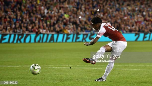 Reiss Nelson of Arsenal takes a penalty during the Preseason friendly International Champions Cup game between Arsenal and Chelsea at Aviva stadium...