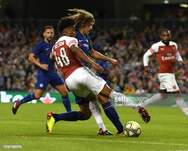 Reiss Nelson of Arsenal takes on Ethan Ampadu of Chelsea during the Preseason friendly between Arsenal and Chelsea on August 1 2018 in Dublin Ireland