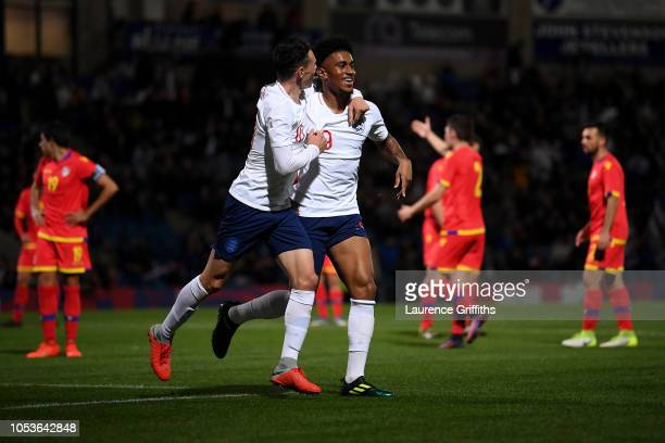 Reiss Nelson of England celebrates scoring the sixth goal during the 2019 UEFA European Under21 Championship Qualifier between England U21 and...