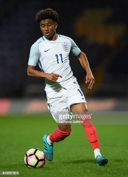 Reiss Nelson of England in action during the International match between England and Germany at One Call Stadium on September 5 2017 in Mansfield...