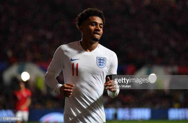 Reiss Nelson of England looks on during the International Friendly match between England U21 and Poland U21 at Ashton Gate on March 21 2019 in...