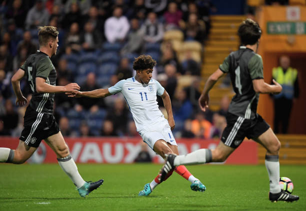 Reiss Nelson of England scores his teams first goal during the U19 International match between England and Germany at One Call Stadium on September...