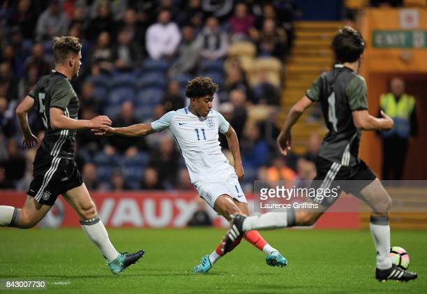 Reiss Nelson of England scores his teams first goal during the U19 International match between England and Germany at One Call Stadium on September 5...