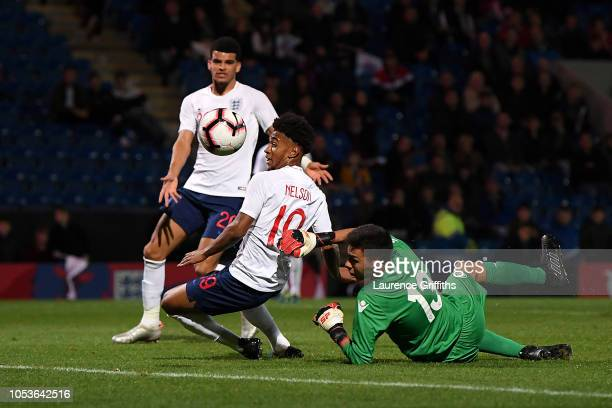 Reiss Nelson of England scores the sixth goal during the 2019 UEFA European Under21 Championship Qualifier between England U21 and Andorra U21 at the...