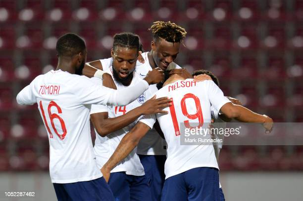 Reiss Nelson of England U21 celebrates with teammates after scoring his team's first goal during the 2019 UEFA European Under21 Championship...