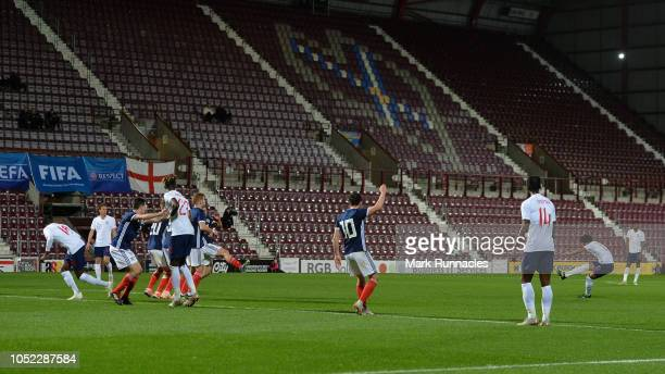 Reiss Nelson of England U21 scores his team's first goal during the 2019 UEFA European Under-21 Championship Qualifier match between Scotland U21 and...