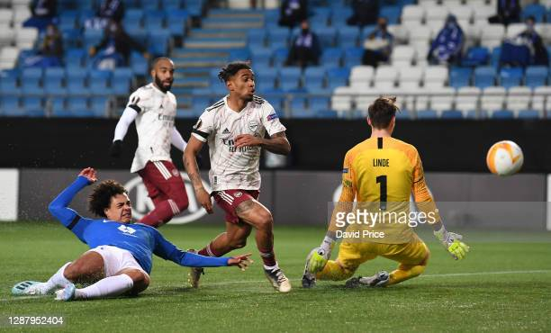 Reiss Nelson scores Arsenal's 2nd goal during the UEFA Europa League Group B stage match between Molde FK and Arsenal FC at Molde Stadion on November...