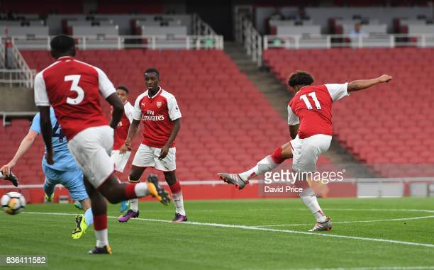 Reiss Nelson scores hia 1st goal for Arsenal during the match between Arsenal U23 and Manchester City U23 at Emirates Stadium on August 21 2017 in...