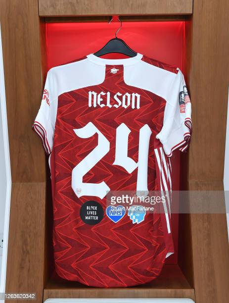 Reiss Nelson shirt in the Arsenal changing room before the FA Cup Final match between Arsenal and Chelsea at Wembley Stadium on August 01 2020 in...