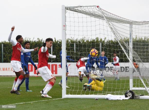 Reiss Nelson's free kick goes in directly for Arsenal's 3rd goal during the match between Arsenal U23 and Chelsea U23 at London Colney on March 17...