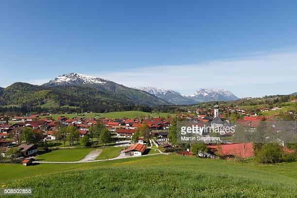 Reit im Winkl with Unterberg hill, mountains Wilder Kaiser and Zahmer Kaiser, Chiemgau region, Upper Bavaria, Bavaria, Germany, Europe