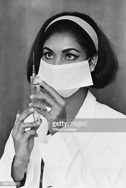 Reita Faria, who won the title of Miss World 1966, resumes her medical studies at King's College Hospital on Denmark Hill, London, UK, 20th November...