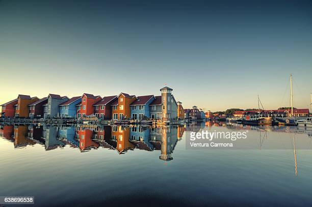 reitdiephaven in groningen - groningen province stock photos and pictures