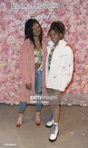 Reiya Downs and Riele Downs arrive for Peyton Kennedy's Sweet 16 Charity Event held at Peer Space on January 11, 2020 in Hollywood, California.
