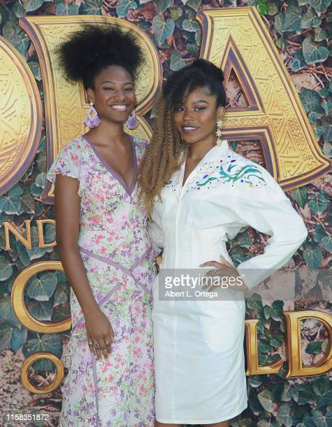 "Reiya Downs and Riele Downs attend the LA Premiere Of Paramount Pictures' ""Dora And The Lost City Of Gold"" held at Regal Cinemas L.A. Live on July..."
