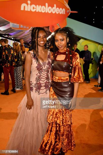 Reiya Downs and Riele Downs attends Nickelodeon's 2019 Kids' Choice Awards at Galen Center on March 23 2019 in Los Angeles California