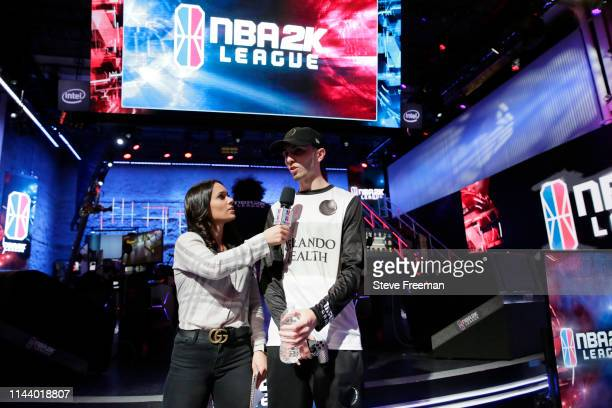 Reizey of Magic Gaming speaks with Alex Giaimo following the game against Pistons GT during Week 5 of the NBA 2K League regular season on May 15 2019...