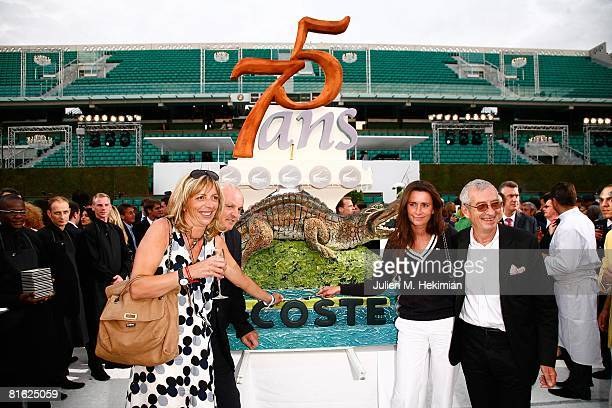 Rejane Lacoste Christian Bime and Michel Lacoste attend the Lacoste 75 years celebration at Roland Garros on June 18 2008 in Paris France