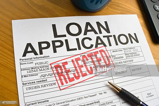 rejected loan application - dismissal stock photos and pictures