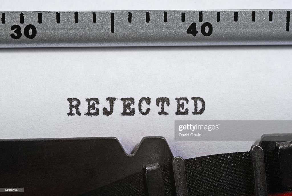 'Rejected' written with a typewriter : Stock Photo