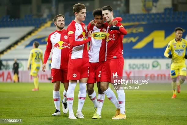 Rejoicing of Andreas Ulmer, Luka Sucic, Karim Adeyemi and Dominik Szoboszlai of Salzburg during the tipico Bundesliga match between Spusu SKN St....