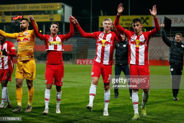 rejoicing of Carlos Miguel Coronel Dominik Szoboszlai Erling Braut Haaland and Albert Vallci of Salzburg during the Uniqa OeFB Cup match between ASK...