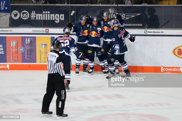 0 during the DEL playoff match between the EHC Red Bull Munich and Pinguins Bremerhaven on March 14th 2018 in Munich Germany