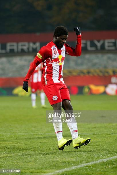 Rejoicing of Sekou Koita of Salzburg during the Uniqa OeFB Cup match between ASK Ebreichsdorf and FC Red Bull Salzburg at BSFZ Arena on October 30,...
