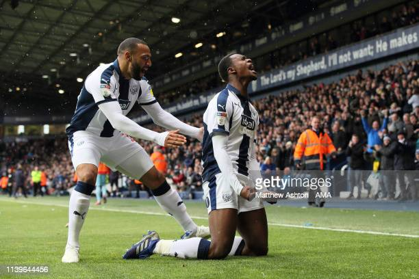Rekeem Harper of West Bromwich Albion celebrates after scoring a goal to make it 21 during the Sky Bet Championship fixture between West Bromwich...