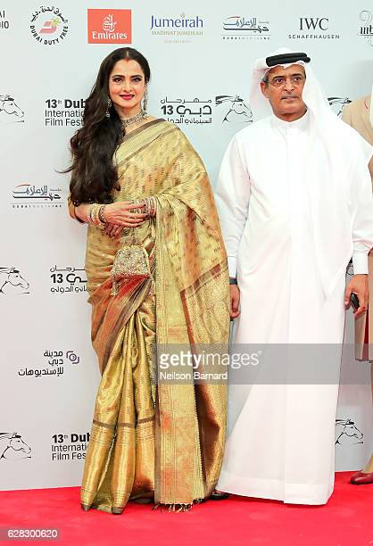 Rekha and DIFF Chairman Abdulhamid Juma attend the Opening Night Gala during day one of the 13th annual Dubai International Film Festival held at the...