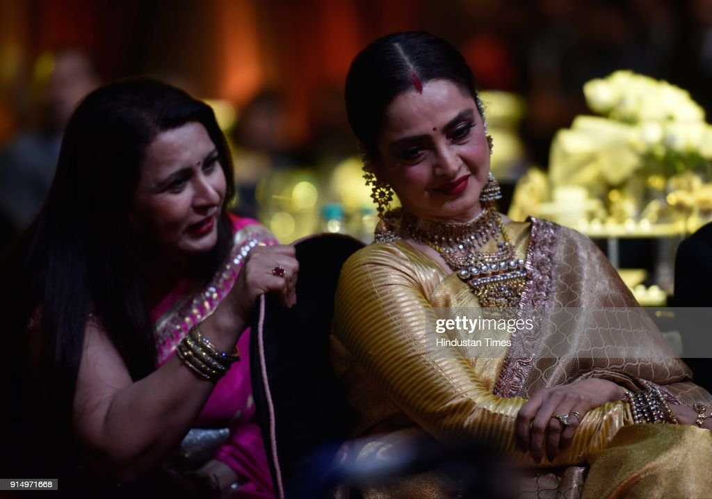 Rekha and Poonam Dhillon during Hindustan Times India`s Most Stylish Awards at Yash Raj Films Private Limited on January 24 2018 in Mumbai India