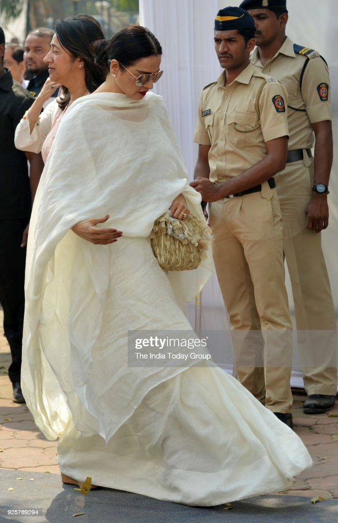 Rekha arrives at Celebration Sports Club to pay last respects to Sridevi in Mumbai