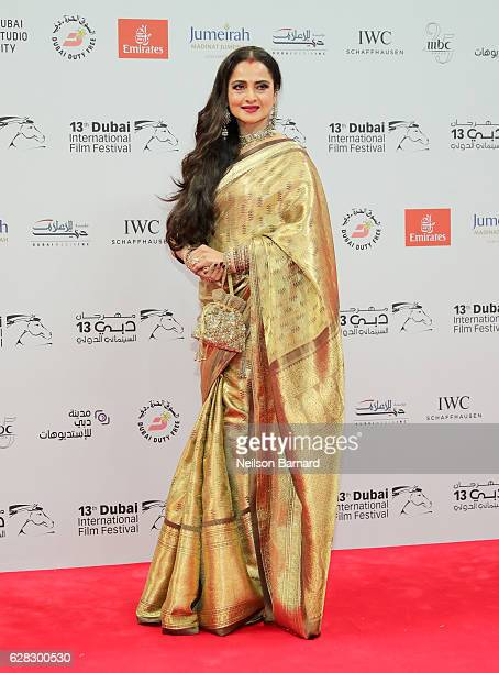 Rekha attends the Opening Night Gala during day one of the 13th annual Dubai International Film Festival held at the Madinat Jumeriah Complex on...