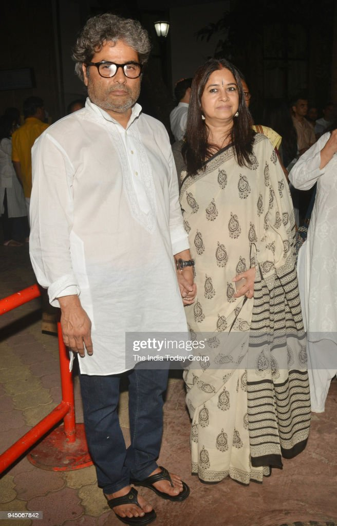 Rekha Bhardwaj and Vishal Bhardwaj at Vishal Bhardwaj`s mother Smt Satya Bhardwaj prayar meet at ISKCON Temple in Mumbai