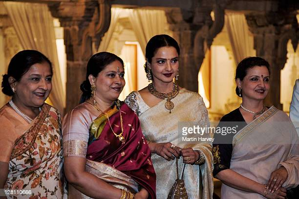 rekha, bollywood actress, rekha with guests at holi festival. udaipur, india. - rekha stock pictures, royalty-free photos & images