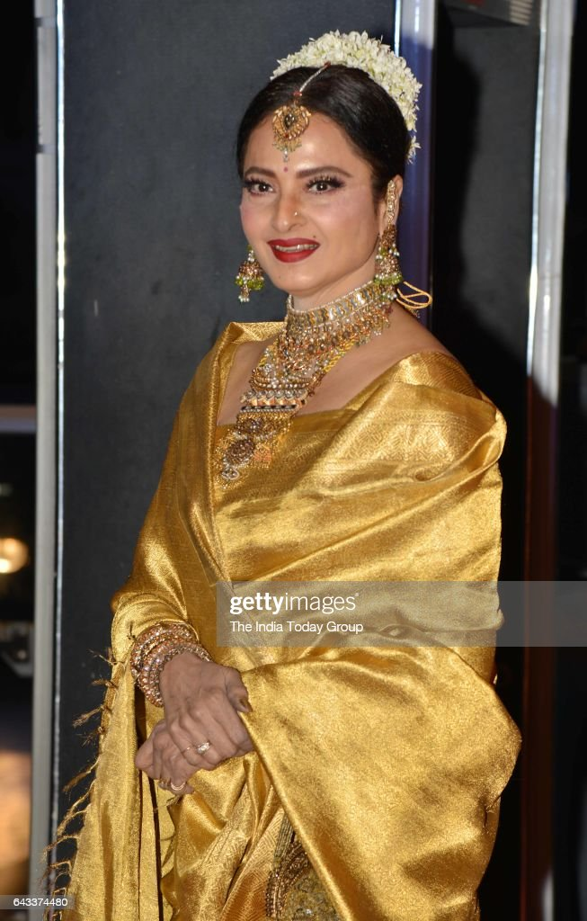 Rekha during the wedding reception of actor Neil Nitin Mukesh in Mumbai