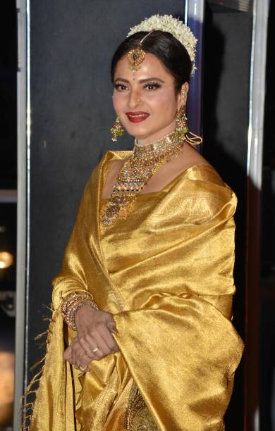 Rekha during the wedding reception of actor Neil Nitin Mukesh in Mumbai