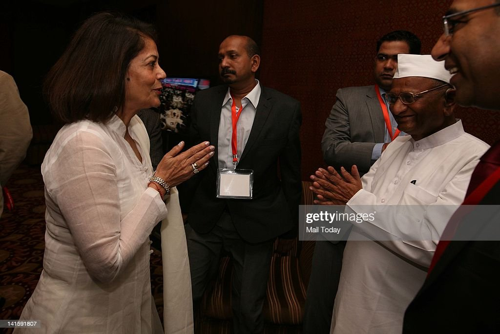 Rekha Purie Chairperson Vasant Valley School greeting Social activist Anna Hazare at the India Today Conclave in New Delhi on Friday