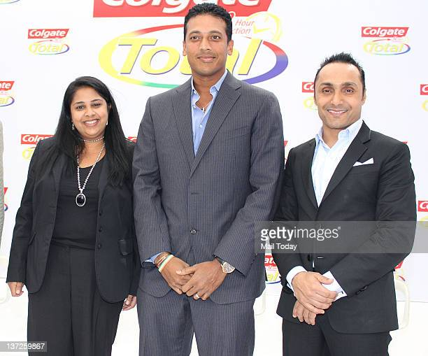 Rekha Rao VP Marketing Colgate Palmolive Indian tennis champion Mahesh Bhupathi and Indian Bollywood actor and rugby player Rahul Bose pose as part...
