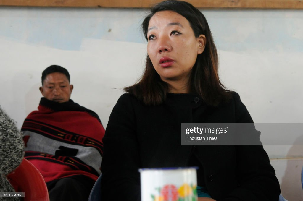 Rekha Rose Dukru an independent candidate from the Chizami seat meeting people from Tsupfume village during election campaign for Nagaland Assembly...
