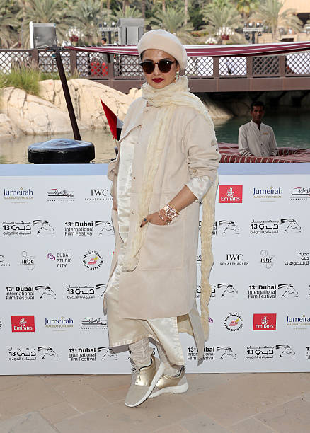 Rekha who received the Lifetime Achievement award attends a photocall during day two of the 13th annual Dubai International Film Festival held at the.