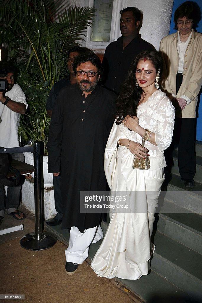 Rekha with Sanjay Leela Bhansali at his birthday bash held at Olive in Mumbai on February 24 2013