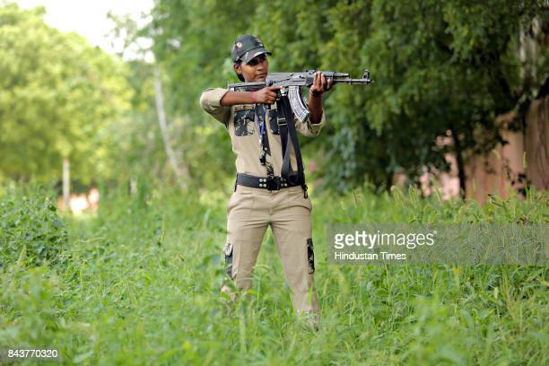 Rekha Yadav a commando trainer since 2014 gives training to the 40 northeastern girls at the Police Training Centre Jharoda Kalan on September 4 2017...