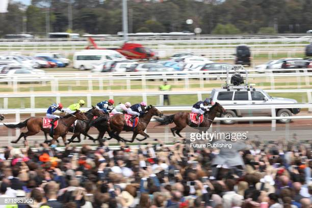 Rekindling accelerates on the finishing straight to win during 2017 Melbourne Cup Carnival on November 7 2017 in Melbourne Australia Chris Putnam /...
